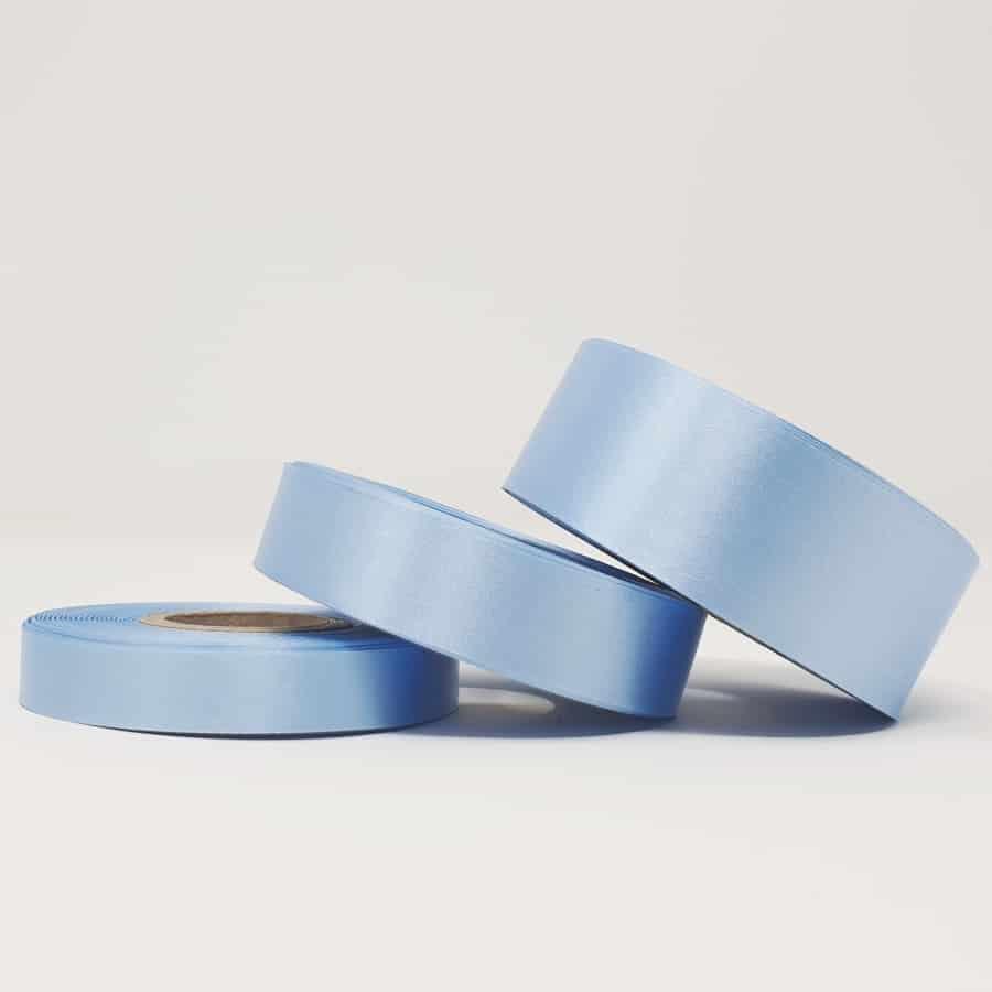 Ruban soie bleu ciel